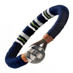 Navy Blue Medallion Leather Bracelet