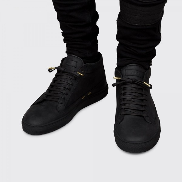 etq mid top all black sneakers hispotion