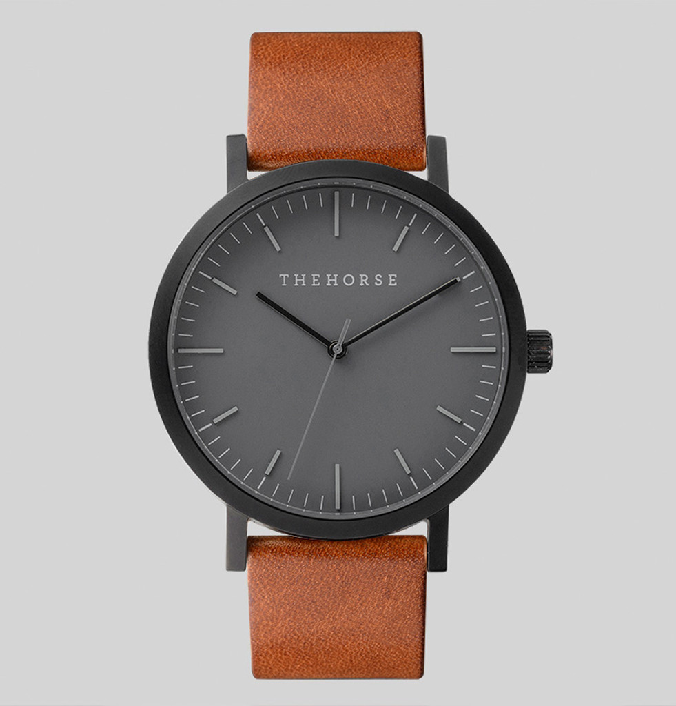 The horse matte black watch hispotion for Black tan watch